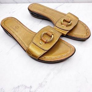 Cole Haan NikeAir Metallic Gold Leather Slides 7.5